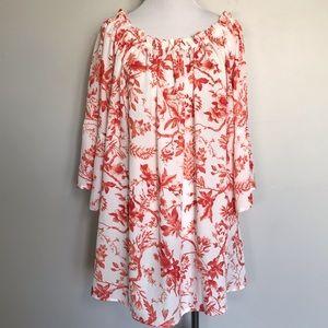 VIOLET & CLAIRE,Orange/White Floral Print Top SZ1X